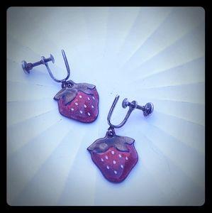 Adorable Vintage Glazed Copper Earrings